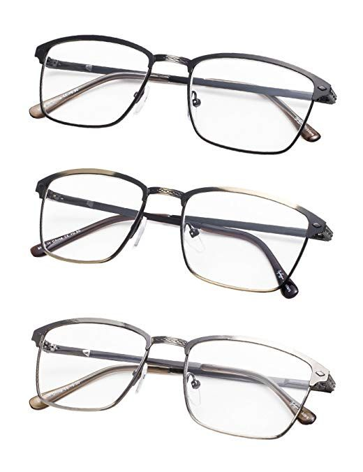 3-Pack Half-Rim Oval Round Reading glasses with Spring Hinges