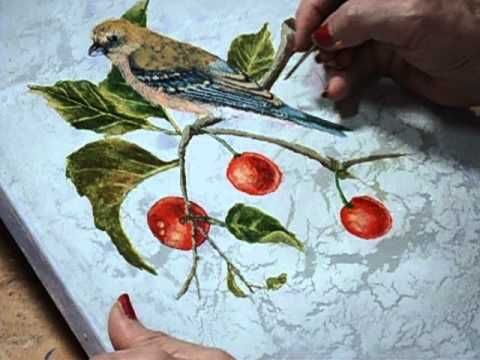 This is the second of two videos on how to paint a bird. The bird is a female Lazuli Bunting. I used acrylic paint on stretched canvas. The background is crackled. This tutorial focuses on painting the top layers of feathers on the bird. For more information about and paintings by this artist, please go to: www.visualgemsstudio.com