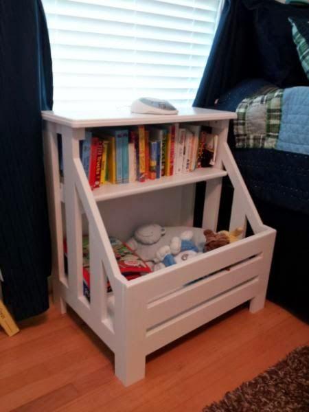 Bücherregal mit Kramkiste