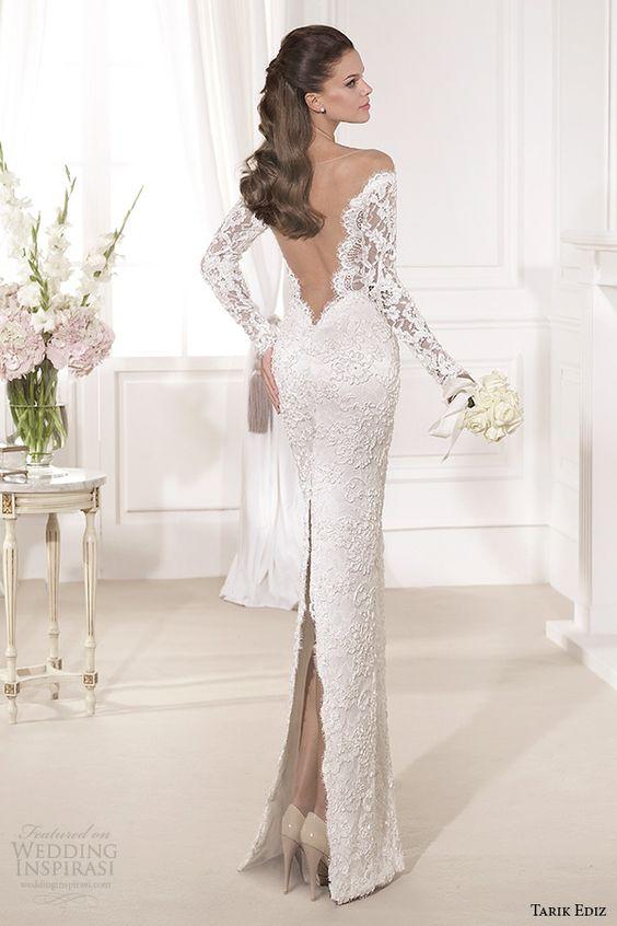 tarik ediz 2014 bridal collection off the shoulder sweetheart sheath wedding dress back kardelen
