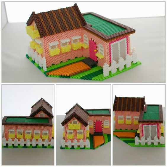 3d house perler beads fuse beads 3d pinterest for Creation maison 3d
