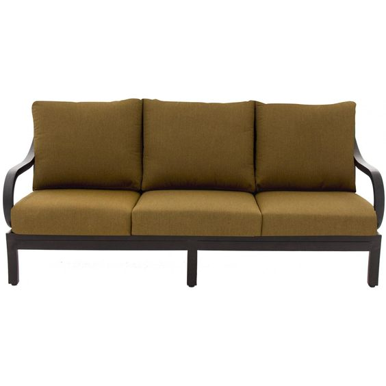 Avondale Aluminum Patio Sofa By Lakeview Outdoor Designs - Canvas Teak Avondale Canvas Teak Sofa - Front View