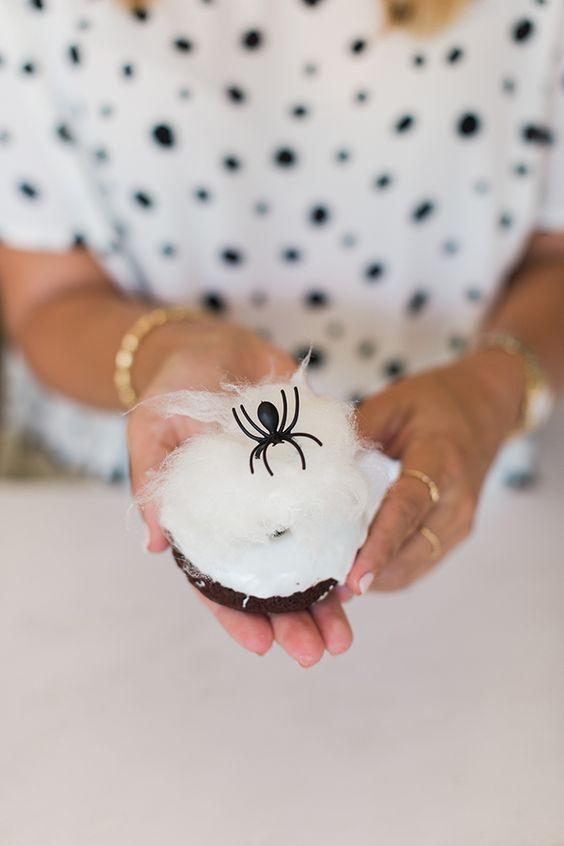 Spiderweb Chocolate Donuts using Bon Puf cotton candy