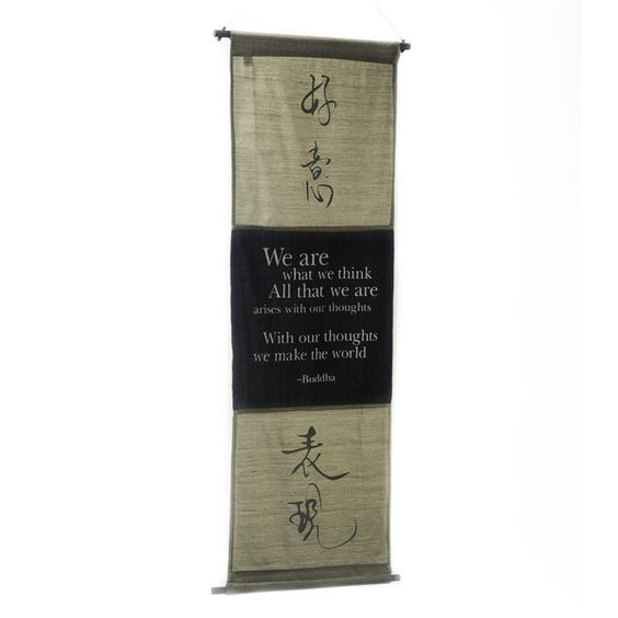 Cotton Spirit Symbol and Buddha Quote Scroll (Indonesia) - Overstock™ Shopping - The Best Prices on Tapestries