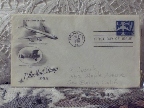 http://ajunkeeshoppe.blogspot.com/   First Day Issue Cover 7c Air Mail Stamp 1958 U.S. 8ozP724B4HP1201
