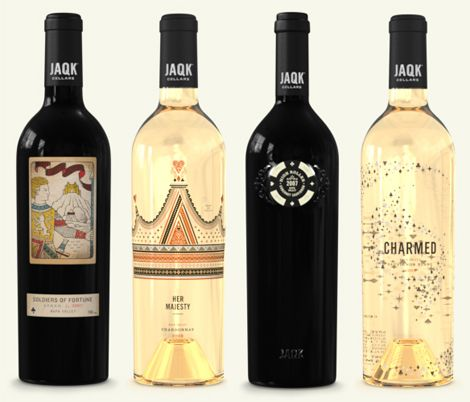 Wine bottles seem to be natural canvas for great graphic design, but rarely does something come along that seems totally new and different in the realm of wine packaging. So, I'm loving these by Jaqk Cellars. The both classic & modern patterns and cheeky, poker-esque icons have a lovely mix of feminine and masculine. It's no wonder that the founders of this winery are also designers!