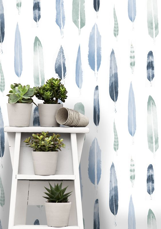 Mini Moderns | Feathers wallpaper - Chalkhill Blue - I like this, it's has a watercolour effect.