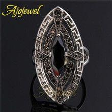 Ajojewel Brand New Arrival Vintage Gothinc Zircon Eye Shaped Big Black Stone Ring For Men and Women