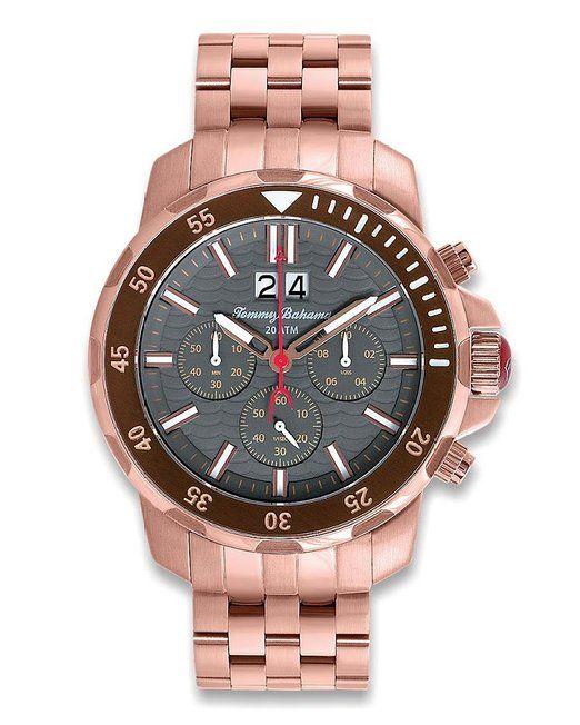 Tommy Bahama de cuero de los hombres TB3066 relojes de pulsera de acero inoxidable de oro rosa y una milla al norte de la isla de la banda de color gris y blanco diamante