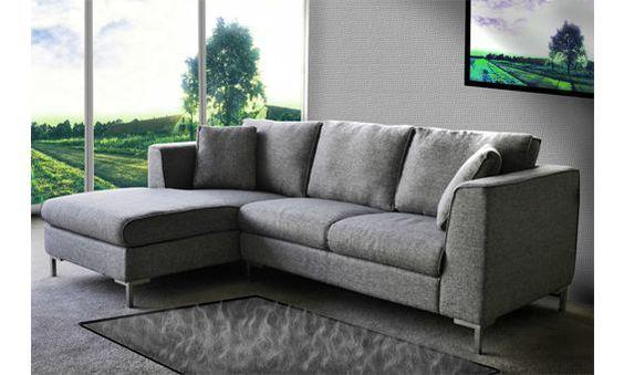 Sofá con chaise longue izquierda tapizado en tela gris. Venta Flash