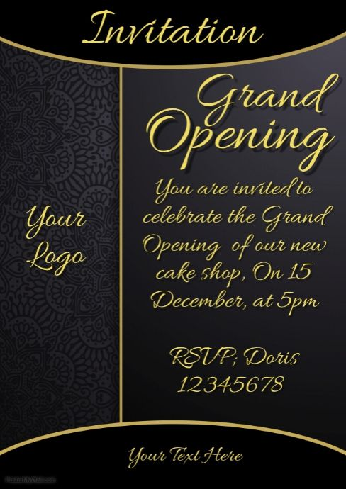 Invitation Grand Opening Restaurant Menu Card With Images Shop