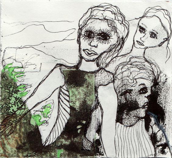 Kvindeliv 4 15x16 Grafik, tegning, collage