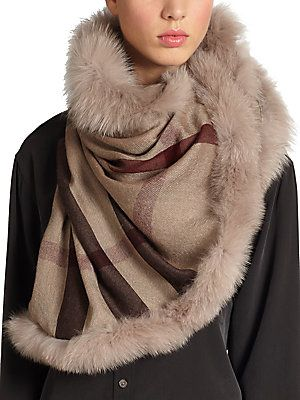 Burberry Fox Fur-Trimmed Check Scarf: