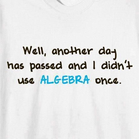 Didn't use algebra today either  Source: Your Switch To Laughter (Fb)