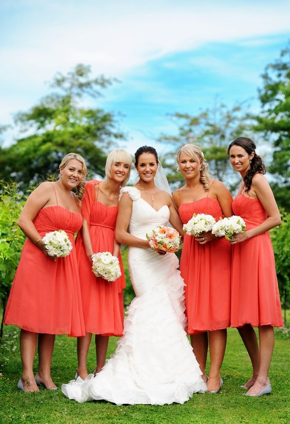 Coral bridesmaids #wedding -  I spoke to the wedding coordinator today and she provided 4 colors for the wedding. Brian and I think that Coral, Khaki and White will be nice. What do you think?