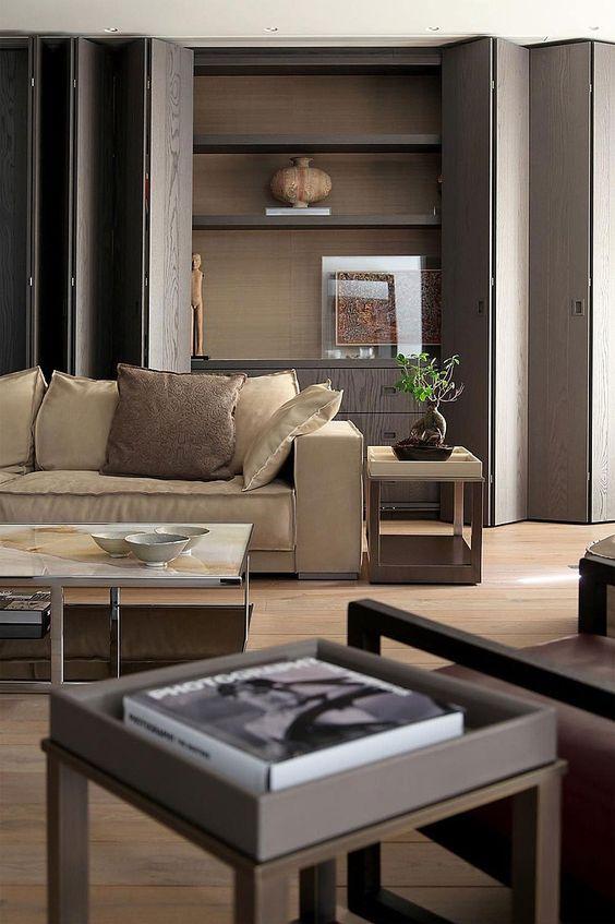 Neutral palette grey yellow beige walnut floating shelves for Neutral palette living room