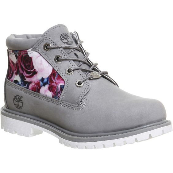 Timberland Nellie Chukka Double Waterproof Boots (£120) ❤ liked on Polyvore featuring shoes, boots, ankle booties, ankle boots, floral nubuck, women, short boots, chukka boots, flower print boots ve timberland boots