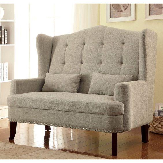 Furniture of America Lakewood Wingback Loveseat Chair