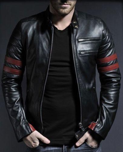 Men EHS Stylish Slim-fit Front YKK Zipper Lambskin Biker Leather ...