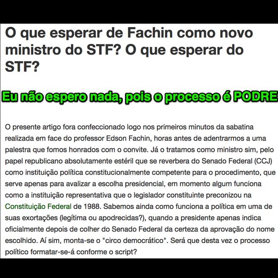 O que esperar de Fachin como novo ministro do STF? O que esperar do STF? ➤ http://leonardosarmento.jusbrasil.com.br/artigos/187855247/o-que-esperar-de-fachin-como-novo-ministro-do-stf-o-que-esperar-do-stf ②⓪①⑤ ⓪⑤ ①④ #STF