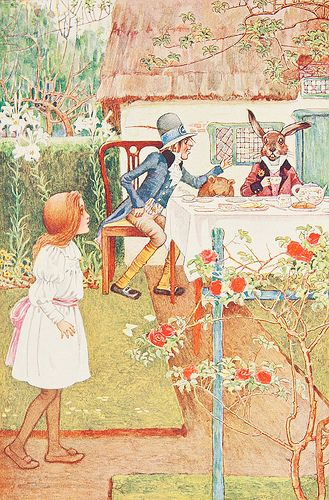 Millicent Sowerby illustration, Tea Party, Alice in Wonderland