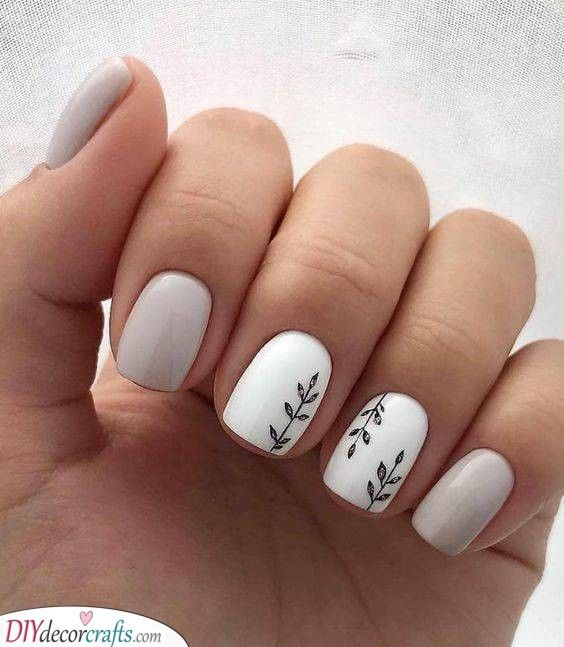Leaves And Branches A Bit Of Nature Short Acrylic Nails Designs Stylish Nails Designs Cute Nail Art Designs