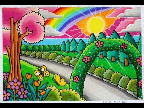 Cara Menggambar Pemandangan Taman Sepanjang Jalan Cara Gradasi Warna Ep 241 Youtube Menggambar Kreatif Buku Mewarnai Cara Menggambar