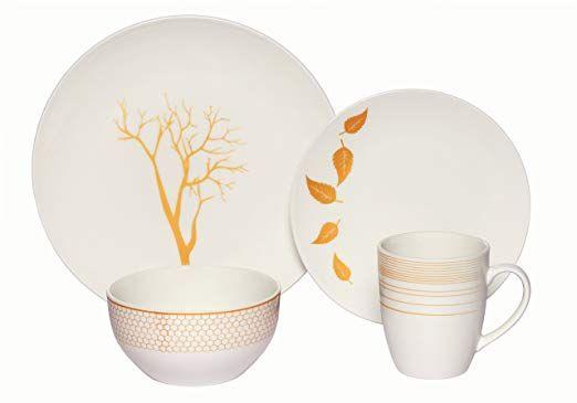 10pps Melange Coupe 32 Piece Porcelain Dinnerware Set Gold Nature Service For 8 Microwave Dishwasher O Porcelain Dinnerware Dinnerware Set Dinnerware