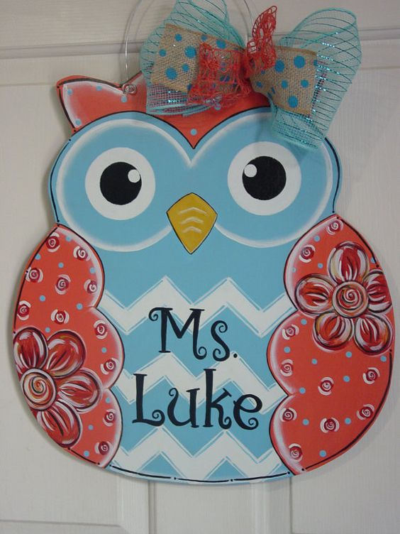 Large Wood Owl Fall Door Hanger Blue Coral With Chevron