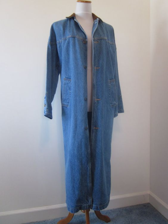 Vintage Long Denim Coat Womens Outerwear Denim Maxi Coat Blue Jean
