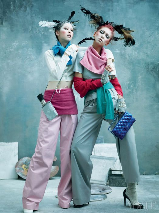 """Art Factory""ㅣLee Hojung and Kim Jinkyung in Chanel Spring/Summer 2014, by Kim Bo Sung for Vogue Korea March 2014  pop art knit play!"
