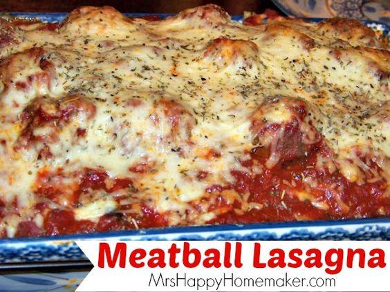 Meatball Lasagna combines 2 Italian favorites - meatballs & lasagna ...