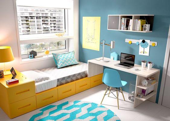 Dormitorio juvenil con cama modular y escritorio dormitorios con zona de estudio pinterest for Cama escritorio juvenil