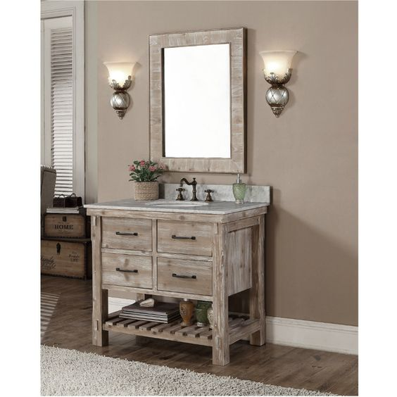 Accos 36 inch rustic bathroom vanity quartz white marble top give your interior decor a for 36 inch rustic bathroom vanity