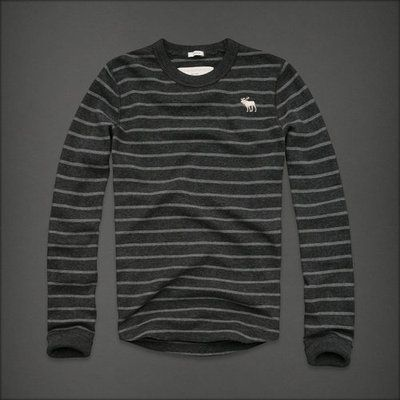 SALE NWT Mens Logo Abercrombie & Fitch Long Sleeve T-Shirts Gray &68  $29