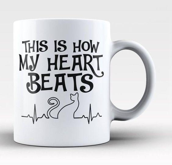Cat Mug - This Is How My Heart Beats