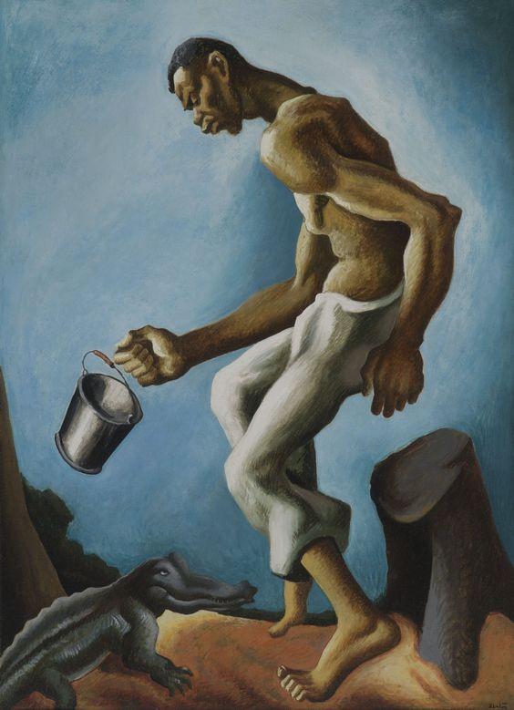 (1927) The Negro and the Alligator (Thomas Hart Benton)