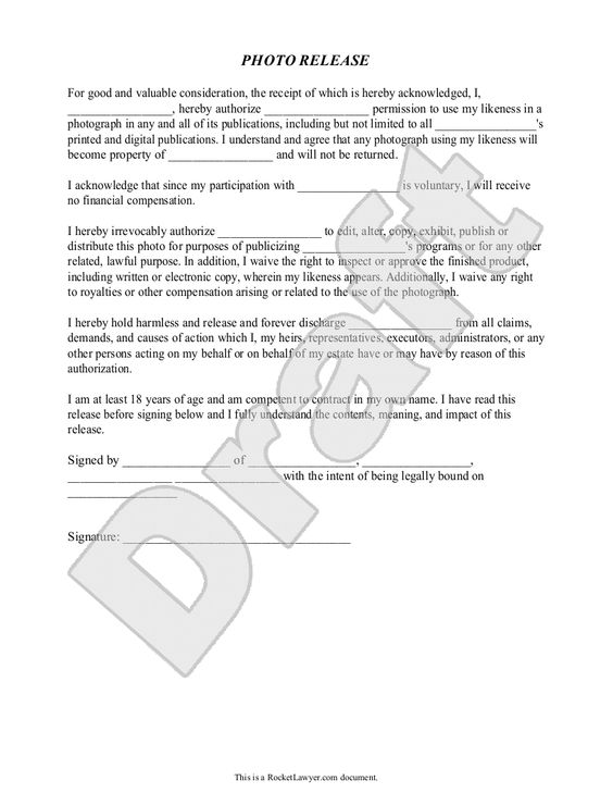 Photography Copyright Release Form - Design Templates