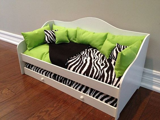 """13-Piece Daybed Bedding fits 18"""" American Girl Doll Bed. $39.00, via Etsy."""