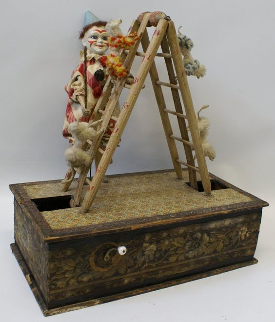 EXTREMELY RARE!! 1800's Clown and Dog Act German Musical Automaton. (G22)