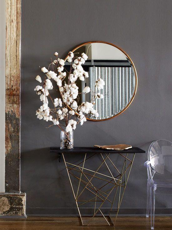 Farmhouse Decor Large Round Mirror Entry Way Table Dark Grey Walls Gold Accents Hardwood Floor Ad Fa Modern Loft Modern Interior Design Modern Interior