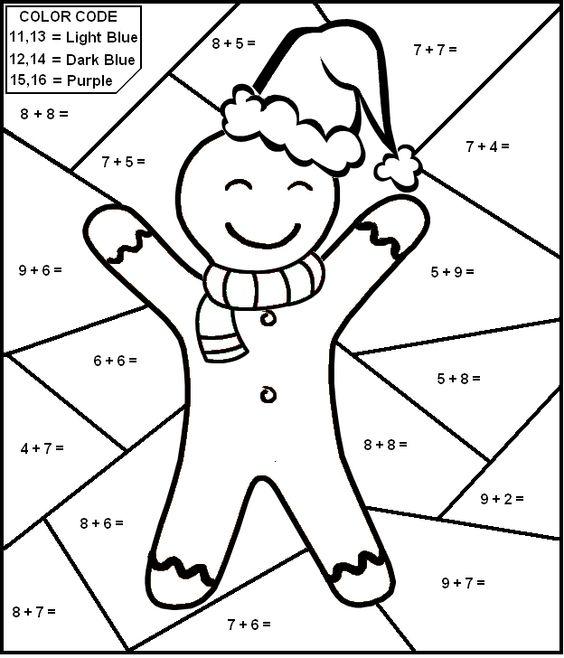 ColorbyNumber Math worksheet Gingerbread Man first grade – Math Worksheets for 1st Graders