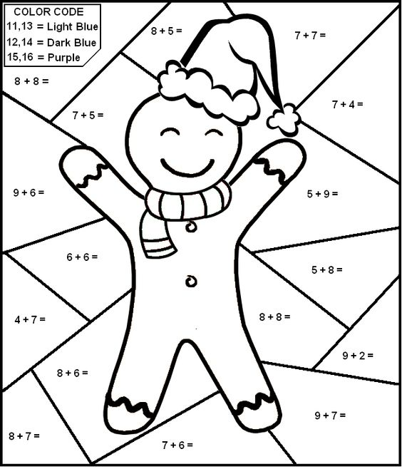 ColorbyNumber Math worksheet Gingerbread Man first grade – First Grade Math Worksheets
