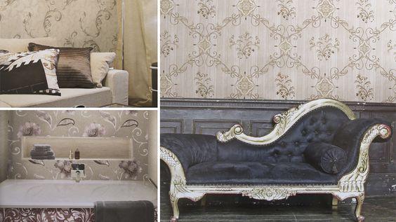 Estancias decoradas con papeles de estilo barroco