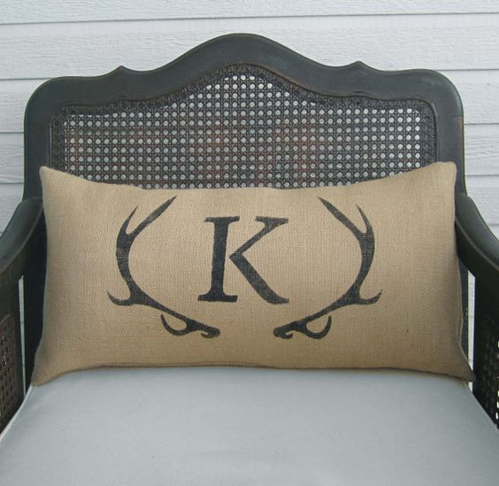 Burlap pillows, Antlers and Monogram pillows on Pinterest
