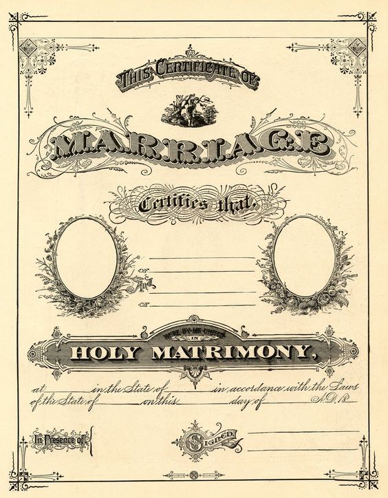 Antique Ephemera Clip Art – Printable Marriage Certificate / The Graphics Fairy