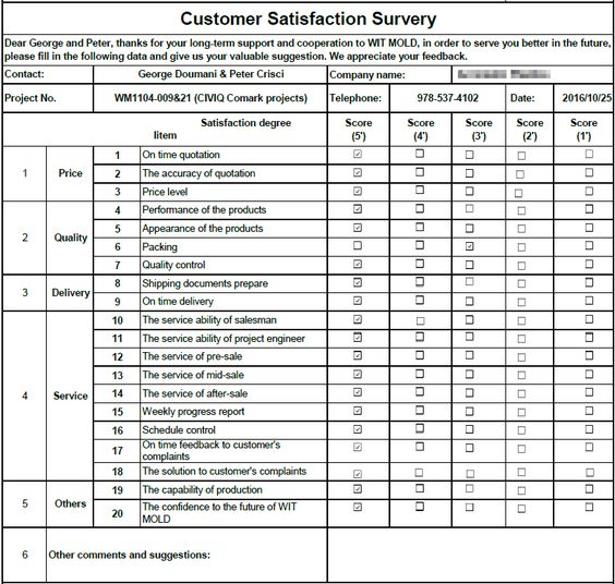 This week, we sent Customer Satisfaction Survey to our USA - sample client satisfaction survey