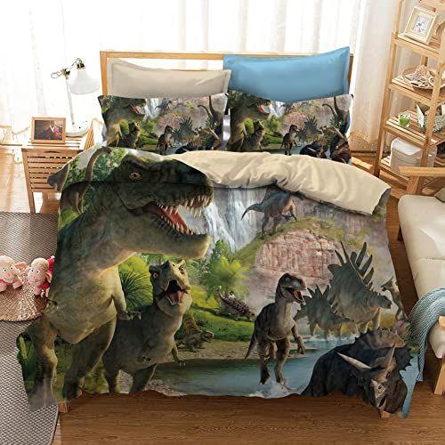 Amazing Offer On Adasmile A S Dinosaur Bedding Set Jurassic Age T Rex Raptors Duvet Cover Pillowcase Set Kids Boys Bedroom Decoration Bed Set Microfiber Fabric No Comforter Twin 2pcs Online In 2020