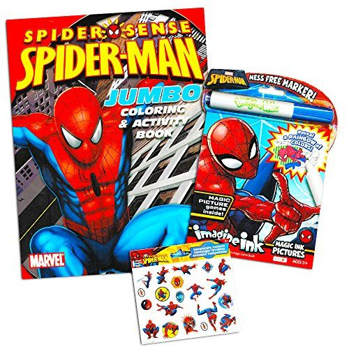 Marvel Spiderman Imagine Ink Coloring Book Set 1 Mess Free Book 1 Coloring Book Stickers Mess F Spiderman Party Supplies Coloring Book Set Coloring Books