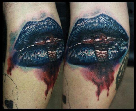 tatuajes labios negros de sangre